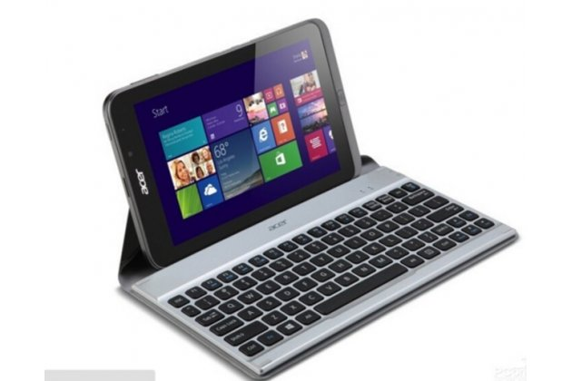 Фирменный чехол со съёмной Bluetooth-клавиатурой для планшета Acer Iconia Tab W4-820/W4-821/W3-810/W3-811 черный кожаный + гарантия