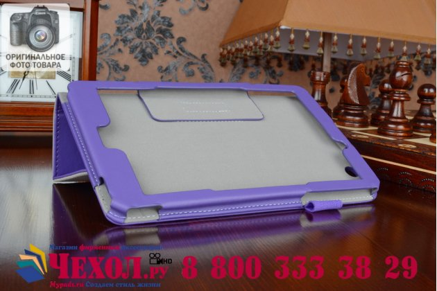 """Фирменный чехол бизнес класса для Acer Iconia One 8 B1-810/B1-811 с визитницей и держателем для руки фиолетовый натуральная кожа """"Prestige"""" Италия"""