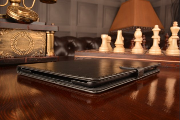 Фирменный чехол-книжка из качественной импортной кожи с подставкой застёжкой и визитницей для Айпад Аир 1 черный
