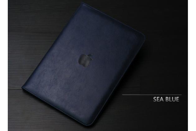 """Фирменный чехол бизнес класса для  iPad Pro 12.9"""" с визитницей и держателем для руки черный натуральная кожа """"Prestige"""" Италия"""