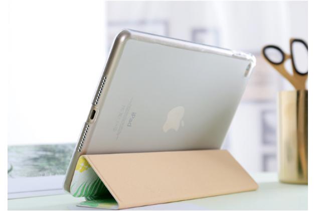 Фирменный чехол-обложка для iPad 2/3/4 new зеленый в полоску