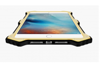 Противоударный металлический чехол-бампер из цельного куска металла с усиленной защитой углов и необычным экстремальным дизайном  для iPad Mini 4 черного цвета
