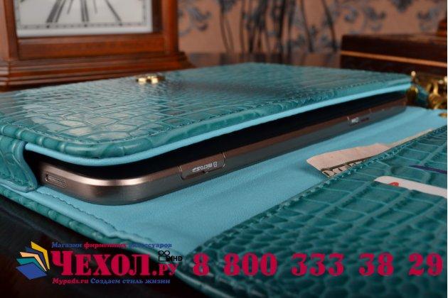 Фирменный роскошный эксклюзивный чехол-клатч/портмоне/сумочка/кошелек из лаковой кожи крокодила для планшетов Acer Iconia Tab W3-810/W3-811. Только в нашем магазине. Количество ограничено.