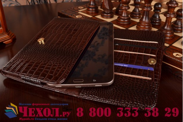Фирменный роскошный эксклюзивный чехол-клатч/портмоне/сумочка/кошелек из лаковой кожи крокодила для планшетов Acer Iconia One B1-770. Только в нашем магазине. Количество ограничено.