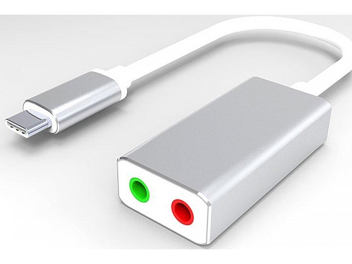 Фирменный адаптер-переходник AUX кабель jack 3.5 (m) - Type-c для подключение наушника и микрофона к телефону и Apple MacBook серебристый