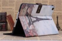 """Фирменный премиальный элитный чехол-обложка из качественной импортной кожи с мульти-подставкой для iPad Air 2  """"тематика Париж"""""""