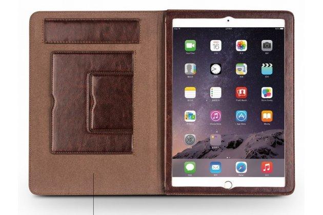 Фирменный умный элитный премиальный чехол бизнес класса для планшета iPad Air 2 из качественной импортной кожи черный