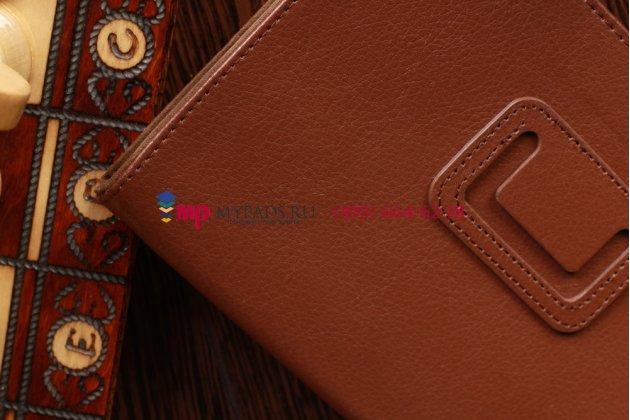 Фирменный оригинальный чехол-обложка для Acer Iconia Tab A110/A111 коричневый кожаный