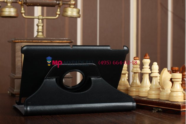 Фирменный оригинальный чехол для Acer Iconia Tab A200/A201 поворотный черный кожаный