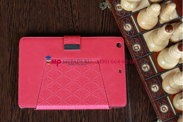 Чехол-обложка для iPad Mini с застежкой кожаный красный
